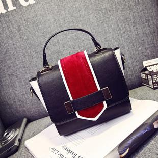 包包2016新款欧美时尚撞色手提包女小包百搭单肩斜挎包磨砂小方包