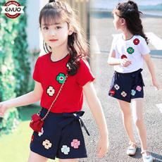 短袖 女童套装 女宝宝洋气套装 裙韩版 夏季2018新款 裙裤 中大童两件套