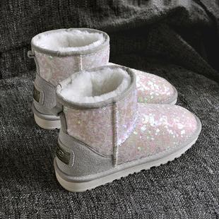 冬新韩版百搭亮片雪地靴女短筒加厚绒矮低帮保暖防滑学生棉鞋显瘦