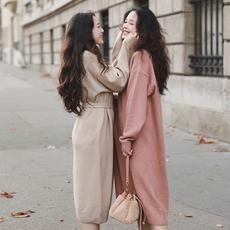 漞渡原创网红毛衣慵懒宽松中长款圆领套头打底毛衣女柔软显瘦