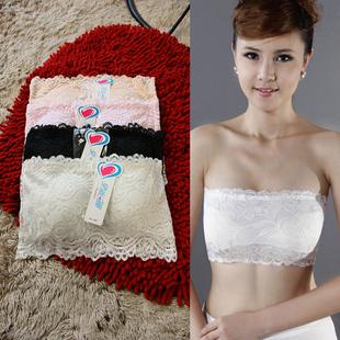 2016春夏女装韩版全蕾丝半截罩杯小可爱裹胸抹胸送肩带有胸垫包邮