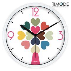 Timode优时静音挂钟 客厅时尚艺术时钟 创意新婚爱心石英钟