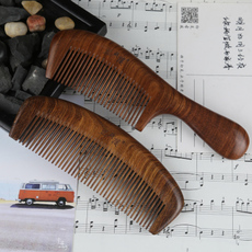 正宗天然金丝檀木头梳子木梳 防静电直发卷发梳子 定制刻字礼品梳