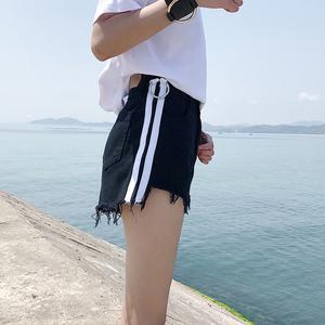 夏季韩版女装侧面条纹毛边牛仔短裤高腰宽松阔腿裤显瘦学生热裤子阔腿裤