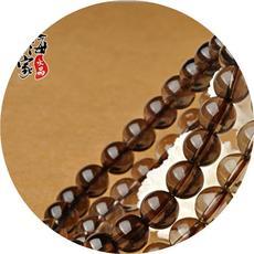 东海世家 茶水晶手链男女 茶晶单圈手链串佛珠水晶饰品送家人长辈