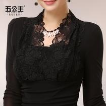 黑色网纱t恤薄长袖 纱衣v领显瘦蕾丝衫 五公主蕾丝打底衫 春秋季女装