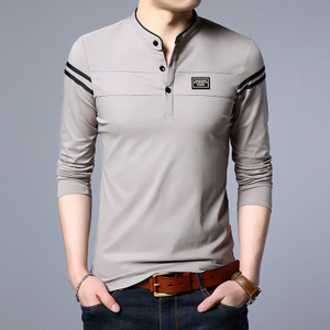 春季长袖t恤男小立领秋衣服男士修身纯棉体恤打底衫上衣韩版男装