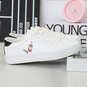 韩版学院风女鞋简约百搭小清新手绘帆布鞋学生低帮系带休闲小白鞋