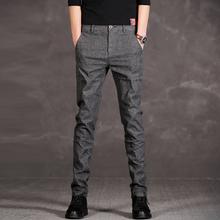 修身 小脚裤 男时尚 青年男士 秋冬男装 男裤 黑灰色休闲裤 韩版 直筒裤