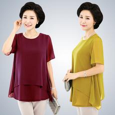 2017夏季中年女装宽松短袖T恤女半袖上衣服妈妈装雪纺衫衬衫体恤