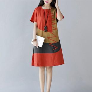 2016夏季新款韩版民族风女装大码宽松短袖拼接中长款棉麻连衣裙