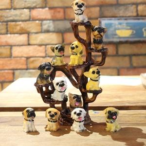 包邮仿真树脂12只名犬小狗狗 创意汽车<span class=H>家居</span>装饰摆件 生日工艺礼品