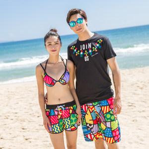 劲朵海边度假<span class=H>情侣</span>装泳衣蜜月温泉泳装性感<span class=H>比基尼</span>二件套速干沙滩裤