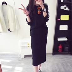 春季套头毛衣套装新款2016学生女韩版春装中长款针织衫长袖两件套