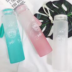 BTS防弹少年团演唱会同款玻璃随行杯渐变色小清新学生夏季柠檬杯