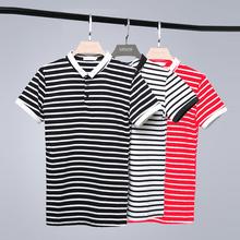 夏季韩版修身半袖青年T恤男装POLO衫男 撞色翻领条纹短袖POLO衫潮