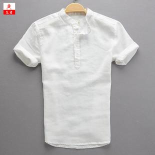 夏季新款亚麻短袖衬衫男休闲套头宽松棉麻T恤衫大码圆领白上衣男