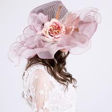 新款防紫外线欧根纱遮阳帽子欧美女夏季大沿花朵网纱太阳帽时装帽