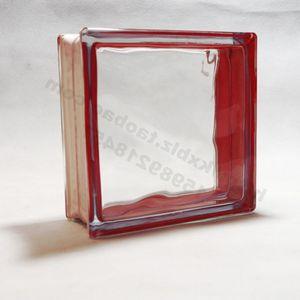 热卖空心玻璃砖 厂家直销 工艺装饰品 家居建材 边彩红云雾纹玻璃砖