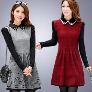 中长款针织衫秋季针织连衣裙修身冬季女装修身长袖打底衫毛衣裙潮