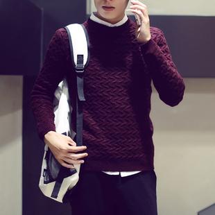 2015秋冬男士毛衣男圆领套头韩版修身英伦青年学生针织衫男装潮
