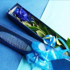 鲜花速递单支蓝玫瑰花束礼盒蓝色妖姬鲜花1朵一枝生日情人节送花
