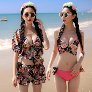 泳衣女分体裙式比基尼小胸聚拢性感罩衫纱三四件套bikini温泉泳装