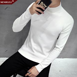 半高领毛衣男小清新韩版套头圆领学生纯色青年男士长袖打底针织衫