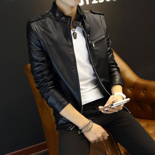 皇速机车皮衣男青年春季薄款夹克男士外套春秋男装皮夹克修身韩版
