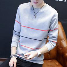 新款青年圆领长袖t恤学生秋季潮男薄款卫衣韩版修身男士薄款上衣