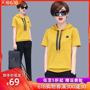 连帽<span class=H>卫衣</span>短袖T恤女2019夏季新款宽松显瘦大码纯棉上衣纯色体恤衫