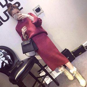 深秋<span class=H>套装裙</span>女神韩版时尚气质赫本风小香晚秋毛衣搭配裙子两件套裙