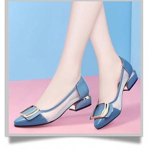 网纱单鞋女低跟网鞋2020新款夏季透气舒适百搭粗跟妈妈工作鞋子15