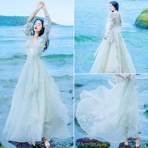 吊带两件套蕾丝连衣裙女夏学生网纱拼接甜美仙女V领显瘦<span class=H>长裙</span>套装