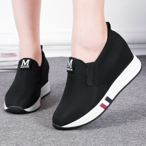 新款老北京布鞋透气女<span class=H>单鞋</span>乐福鞋舒适内增高<span class=H>女鞋</span>套脚休闲鞋松糕鞋