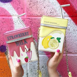 个性吸管牛奶盒造型单肩斜挎包<span class=H>链条</span>草莓柠檬手机零钱小包女可爱萌