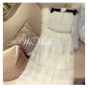 WeMode同款夏季白色抹胸女神网纱长裙仙<span class=H>晚礼服</span>露肩海边沙滩度假裙