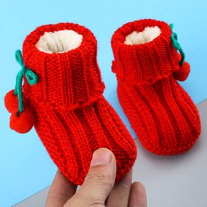 婴儿毛线鞋编织手工针织<span class=H>成品</span>秋冬季0-6个月新生幼儿9宝宝步前鞋