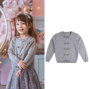 2019春季新款毛衣女童<span class=H>开衫</span>蝴蝶结灰色纯棉儿童宝宝上衣针织衫外套
