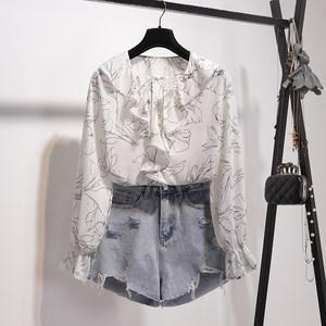 2019春新款韩版小清新雪纺<span class=H>衬衫</span>女V领荷叶边花衫印花衬衣长袖上衣