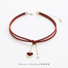 Beating heart Choker Necklace short clavicle chain net red necklace Necklace Jewelry Necklace Necklace female clavicle chain