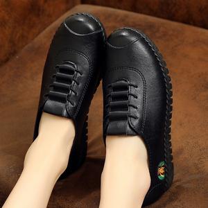 肯德基工作鞋女黑色皮鞋平底防滑妈妈鞋豆豆鞋单鞋软底平跟上班鞋