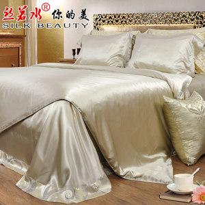 丝若水优质整幅无拼接真丝四件套床单贴边面料桑蚕丝丝绸床上用品