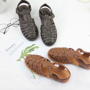 夏季新款包头<span class=H>凉鞋</span>女平底日系森林森女系编织透气网面文艺风复古