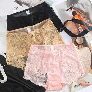 大碼性感夏季全蕾絲女士內褲胖MM中腰三角褲頭襠部純棉薄款
