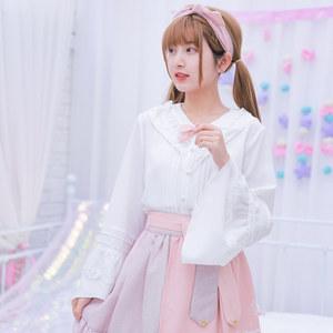 原创森女部落雪纺衫超仙洋气<span class=H>小衫</span>气质甜美小清新百搭配裙子女新款