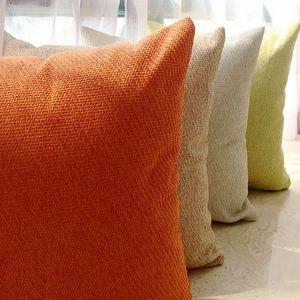 居家简约现代素色沙发靠垫抱枕含芯亚麻纯色布艺靠枕背床头办公室
