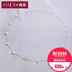 海蒂<span class=H>珠宝</span> 小行星 圆珠强光淡水珍珠满天星项链18K金锁骨链正品女