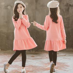 冬季童装女童韩版新款纯棉粉色加绒加厚长袖<span class=H>连衣裙</span> 中大儿童裙子