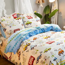 Cartoon four-piece boy car bedding cotton cotton bedding single 3 piece set children's three-piece